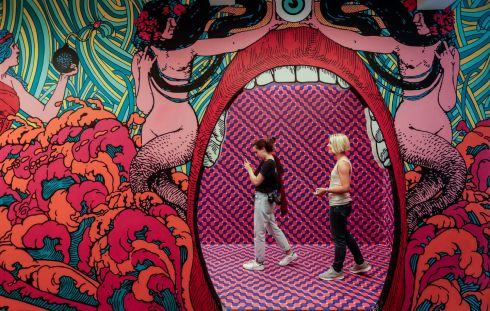 PSYCHE PALACE: Women walk trough the art work called 'Psyche Palace' by Belgian artist Elzo Durt as part of the exhibition Dream Box at the Mima Museum in Molenbeek, Brussels. Photograph: Stephanie Lecocq/EPA
