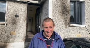 Pat O'Brien was asleep in his house at Dominic's Place in Waterford  when a suspected petrol bomb was thrown at the front door. Photograph: Damien Tiernan.