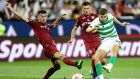 Celtic's James Forrest scores  during the Champions League third qualifying round, first leg against  CFR Cluj  at the Constantin Radulescu stadium. Photograph: Mircea Rosca/AP