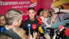 Love Island winner Greg O'Shea speaking to the media after touching down at Shannon Airport on Wednesday. Photograph:  Arthur Ellis