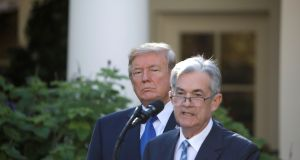 US president Donald Trump with Jerome Powell, chairman of the US Federal Reserve. Photograph: Carlos Barria/Reuters