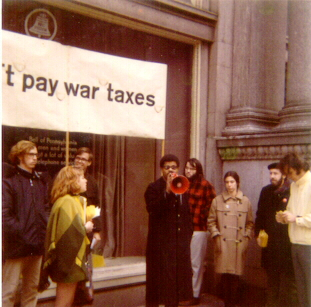 The author speaking at an anti-war protest at the US Federal Building in Philadelphia in 1971