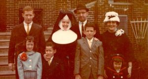 Helena Sheehan as a nun with family visiting her in Corpus Christi parish in Philadelphia where she taught in 1964