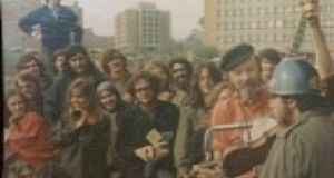 The author on a platform with Pete Seeger at a mass anti-war demonstration in Washington DC in 1971