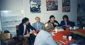 "The author speaking at a Labour Party seminar on ""Is Marxism relevant to the 1980s?"" in Dublin in 1984"