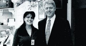 A photograph showing former White House intern Monica Lewinsky meeting president Bill Clinton at a White House function submitted as evidence in documents by the Starr investigation and released by the House Judicary committee September 21st, 1998.