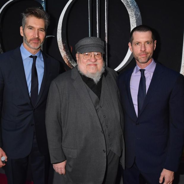 George RR Martin with David Benioff and DB Weiss. Photograph: Jeff Kravitz/FilmMagic for HBO