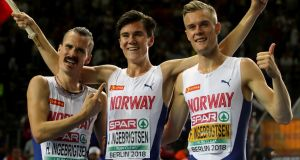 Henrik  Jakob and Filip Ingebrigsten are expected to run for Norway on their home track at Sandnes  in the European Athletics Team Championships. Photograph:  Alexander Hassenstein/Getty Images