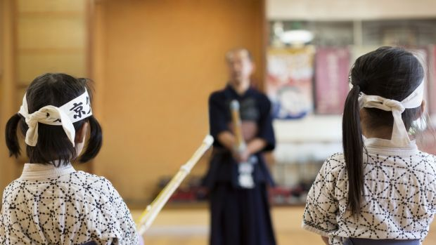 Kendo session in dojo.