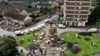The New Lodge bonfire in Belfast which police were attempting to help contractors dismantle. Photograph: Stephen Hamilton/Presseye