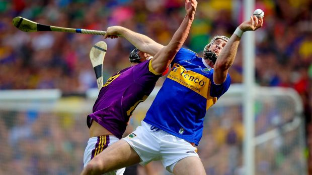 Tipperary's Brendan Maher and Wexford's Lee Chin at the GAA Hurling All-Ireland Senior Championship semi final, Croke Park. Tipperary won and will mee Kilkenny in the final. Photograph: Tommy Dickson/Inpho