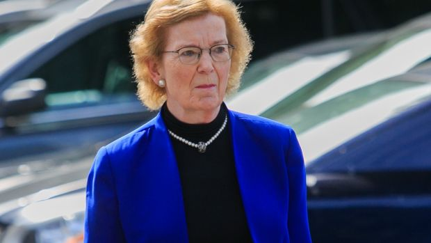 Former preisdent of Ireland Mary Robinson attending the funeral of Richard Johnson at the Church of the Sacred Heart, Donnybrook, Dublin. Photograph: Gareth Chaney/Collins
