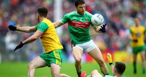 Chris Barrett in action for Mayo during this year's  All-Ireland championship. Photograph:    ©INPHO/James Crombie