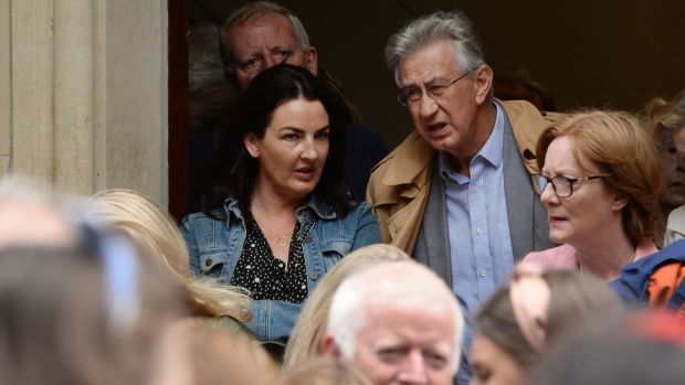 Actors Ciara O'Callaghan and Barry McGovern at the funeral of Irish Times journalist Kate Holmquist. Photograph: Alan Betson/The Irish Times