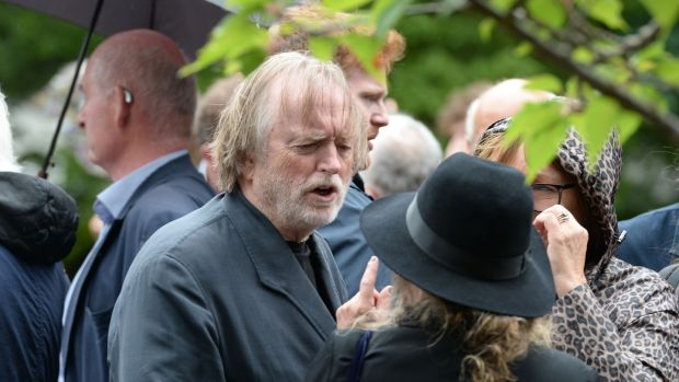 Musician Barry Devlin at the funeral of Irish Times writer Kate Holmquist. Photograph: Alan Betson/The Irish Times