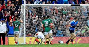 Mayo's Colm Boyle scores an own goal in the 2016 drawn final. Photograph:  Donall Farmer/Inpho