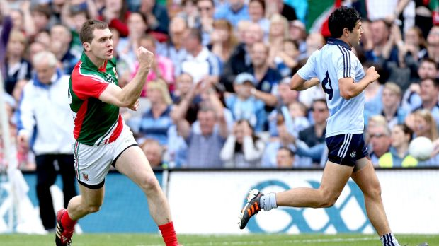 Mayo's Seamus O'Shea celebrates a late score as they overcome Dublin in 2012. Photograph: James Crombie/Inpho