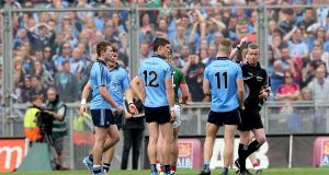 Dublin's Diarmuid Connolly is red carded in the 2015 semi-final. Photograph: James Crombie/Inpho