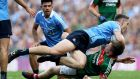 Dublin's Brian Fenton clashes with Mayo's Cillian O'Connor during the 2017 All-Ireland final at Croke Park. Curbing Fenton's influence will be one of Mayo's key priorities. Photograph: Tommy Dickson/Inpho