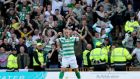 Celtic's Leigh Griffiths celebrates scoring his side's second goal against Motherwell. Photograph: Jane Barlow/PA Wire.