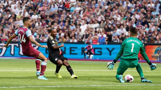 Manchester City's Raheem Sterling scores against West Ham at the London Stadium. Photograph: EPA