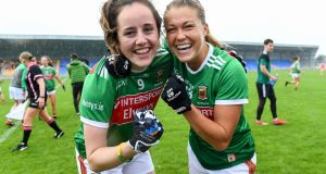 Mayo players Emma Needham and Sarah Rowe celebrate their win against Armagh. Photograph: Sportsfile