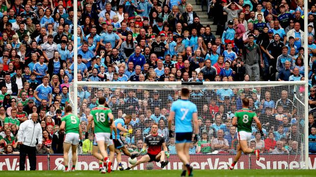 Con O'Callaghan scores his and Dublin's second goal. Photograph: Ryan Byrne/Inpho