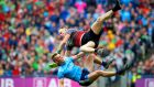 Dublin's Con O'Callaghan collides with Rob Hennelly of Mayo. Photograph: Tommy Dickson/Inpho