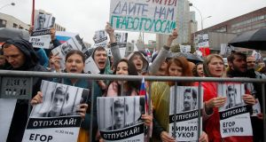 People attend a rally on Saturday to demand authorities allow opposition candidates to run in the upcoming local election in Moscow. Photograph: Reuters
