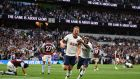 Tottenham Hotspur's Harry Kane celebrates his team's second goal. Photograph: Getty Images