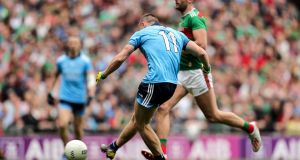 Dublin's Con O'Callaghan scores his side's second goal against Mayo. Photograph: Laszlo Geczo/Inpho