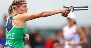 Ireland's  Natalya Coyle  competes in the  shooting discipline  during the Women's final at the European Modern Pentathlon Championships in Bath, England. Photograph:  Michael Steele/Getty Images