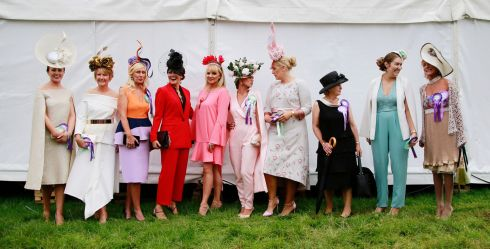 HATS OFF: From left are Joanne Byrne, Gemma McDonagh, Breda Butler, Maria Carton, Brid O'Driscoll, Michelle Fallon, Paula McCormack, Geraldine Maguire, Jill Cobbe and Lynda Weston, all parading the fashions at the Tullamore Show and FBD National Livestock Show in Tullamore, Co Offaly. Photograph: Nick Bradshaw