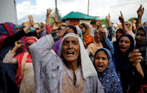 WOMEN'S VOICES: Kashmiri women shout slogans in Srinagar during a protest after the scrapping of special constitutional status for the region by the Indian government. Photograph: Danish Siddiqui/Reuters