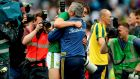 Kerry's David Clifford and manager Peter Keane celebrate after the All-Ireland SFC semi-final. Photo: James Crombie/Inpho