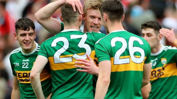 Kerry's Diarmuid O'Connor and David Shaw celebrate their All-Ireland semi-final win over Tyrone with Tommy Walsh at Croke Park on Sunday. Photograph: James Crombie/Inpho