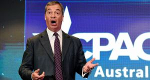 UK Brexit Party leader Nigel Farage makes an address to the  Conservative Political Action Conference in Sydney, Australia on Saturday. Photograph: Bianca De Marchi/EPA.