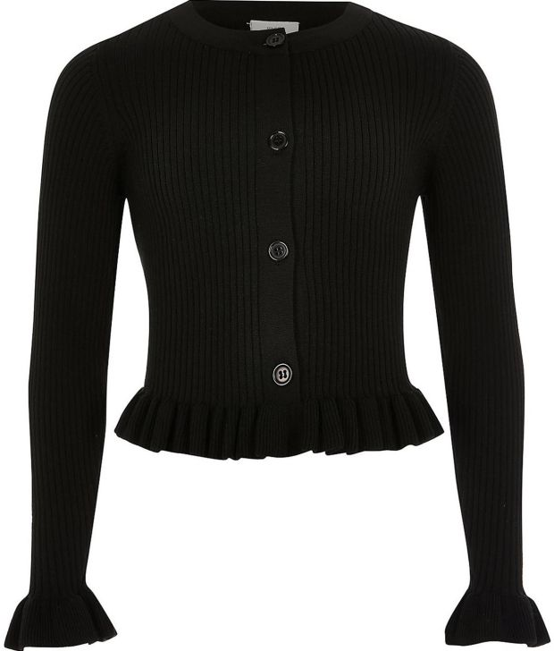 River Island: black ribbed cardigan with frill hem €22