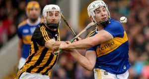 Tipperary's Niall O'Meara with Conor Fogarty of Kilkenny during the league clash this year. Photograph: Inpho/Oisín Keniry