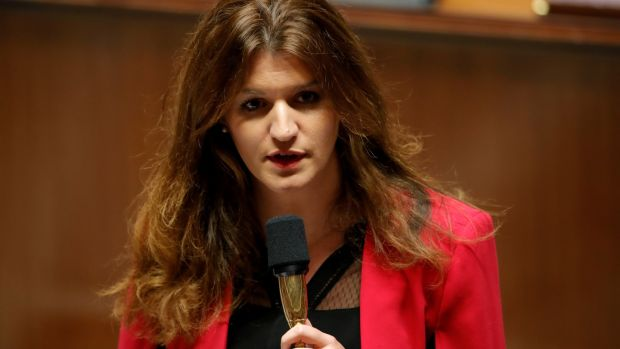 Marlène Schiappa, French junior minister for gender equality, has called for an investigation into Jeffrey Epstein's activities in France. Photograph: Gonzalo Fuentes/Reuters