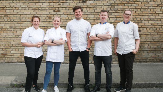 Judges Shauna Froydenlund, Anna Haugh, Jordan Bailey and Gareth Mullins, with kitchen co-ordinator Domini Kemp.