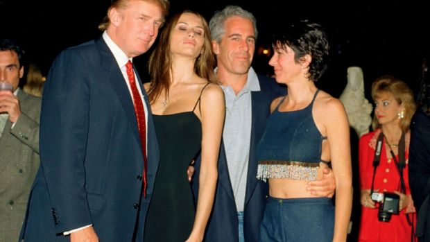 From left to right: Then real estate developer Donald Trump and his girlfriend (future wife) former model Melania Knauss with financier Jeffrey Epstein, and British socialite Ghislaine Maxwell at the Mar-a-Lago club in Palm Beach, Florida on February 12th, 2000. Photograph: Davidoff Studios/Getty
