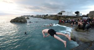 The council said the bathing prohibition at the Forty Foot in Sandycove had been lifted as water quality had returned to acceptable levels. File photograph: Dara Mac Donaill