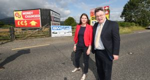Liberal Democrat leader Jo Swinson with Alliance Party deputy leader Stephen Farry as they  visit the Border at Forkhill near Newry. Photograph:  Niall Carson/PA