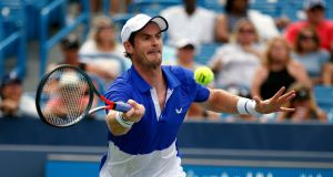 Andy Murray in action against Richard Gasquet during their first-round match at the Western & Southern Open. Photograph: AP
