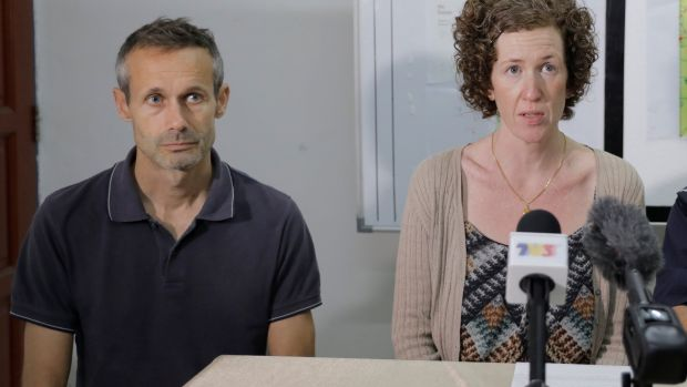 Sebastien Quoirin, and Meabh Quoirin, parents of 15-year-old Irish girl Nora Anne Quoirin who went missing, speak during a news conference in Seremban, Malaysia. Photograph: Royal Malaysia Police/Handout via Reuters