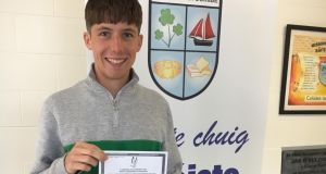 MacDara Allison, from Coláiste Na Coiribe, Co Galway, who got eight H1s in the Leaving Cert on Tuesday