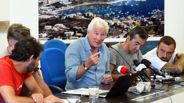 Hollywood actor Richard Gere, who has lent his support to migrants aboard the Open Arms ship. Photograph: Guglielmo Mangiapane/Reuters