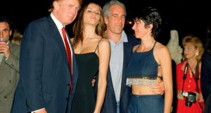 Donald Trump and his then girlfriend Melania Knauss with financier Jeffrey Epstein and British socialite Ghislaine Maxwell at the Mar-a-Lago club, Palm Beach, Florida, in 2000. Photograph: Davidoff Studios/Getty Images