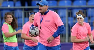 Leinster Women head coach Ben Armstrong during training. Photograph: Bryan Keane/Inpho